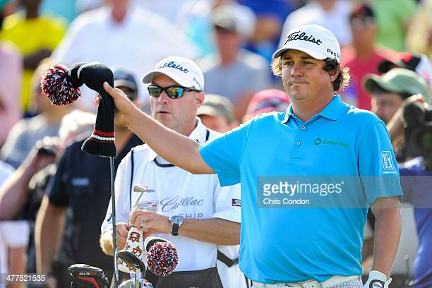 Jason Dufner prepares to tee off on the 11th hole during the final round of the World Golf ChampionshipsCadillac Championship at Blue Monster Trump...