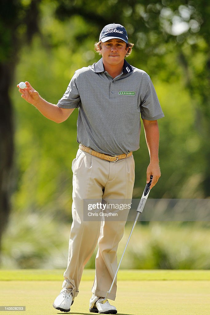 Jason Dufner reacts after making a putt for birdie on the 15th hole during the third round of the Zurich Classic of New Orleans at TPC Louisiana on April 28, 2012 in Avondale, Louisiana.