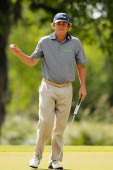 Jason Dufner reacts after making a putt for birdie on the 15th hole during the third round of the Zurich Classic of New Orleans at TPC Louisiana on...