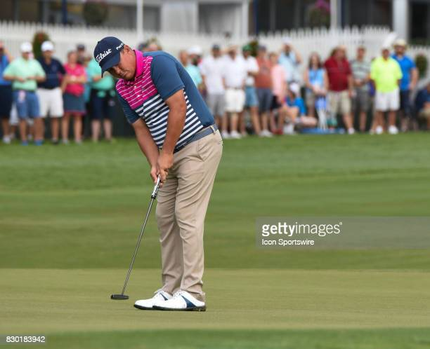 Jason Dufner sinks a putt on the 10th green during the second round of the PGA Championship on August 11 2017 at Quail Hollow Golf Club in Charlotte...