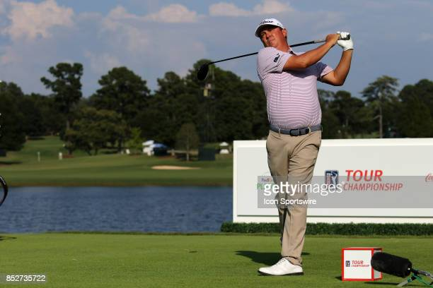 Jason Dufner tees off on the 16th hole during the third round of the PGA Tour Championship on September 23 2017 at East Lake Golf Club in Atlanta...