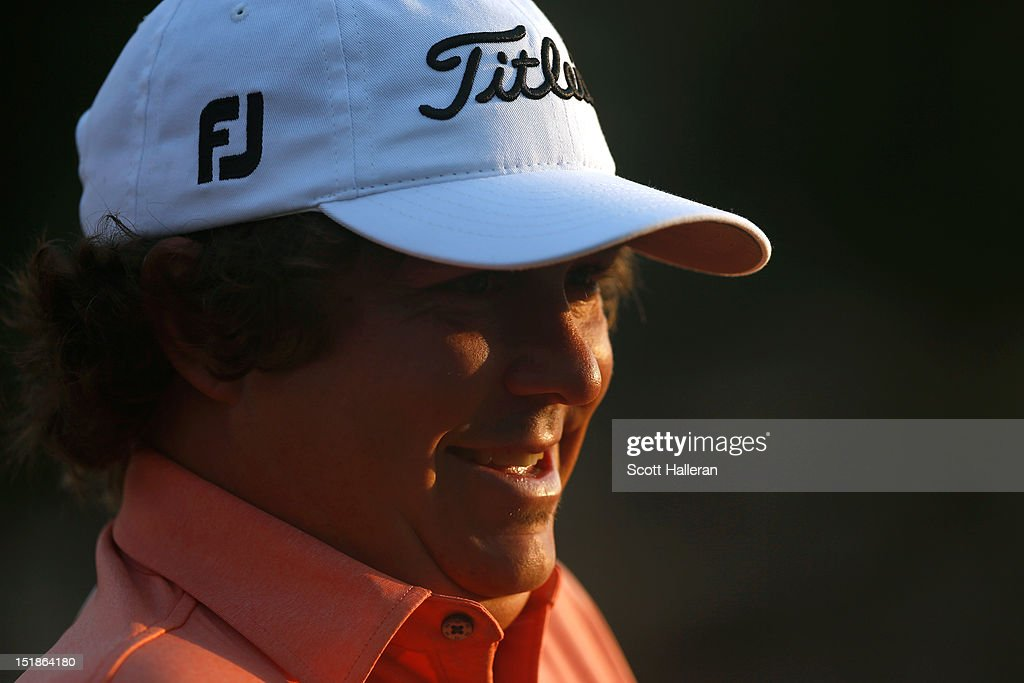 <a gi-track='captionPersonalityLinkClicked' href=/galleries/search?phrase=Jason+Dufner&family=editorial&specificpeople=561651 ng-click='$event.stopPropagation()'>Jason Dufner</a> waits on the practice green during the second round of the BMW Championship at Crooked Stick Golf Club on September 7, 2012 in Carmel, Indiana.