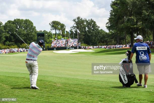 Jason Dufner's approach shot during 1st round action at the PGA Championship at the Quail Hollow Club on August 10 2017 in Charlotte NC