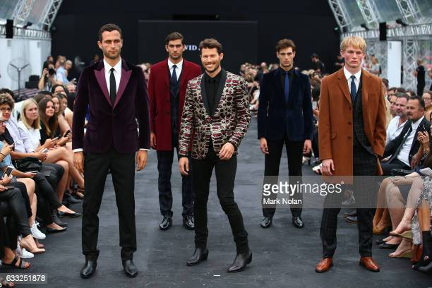 Jason Dundas and models showcase designs by Jack London during rehearsal ahead of the David Jones Autumn/Winter 2016 Fashion Launch at St Mary's...