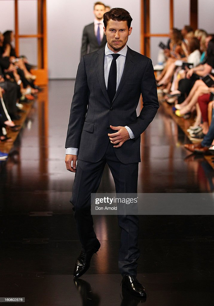 Jason Dundas showcases designs by MJ Bale during the David Jones A/W 2013 Season Launch at David Jones Castlereagh Street on February 6, 2013 in Sydney, Australia.