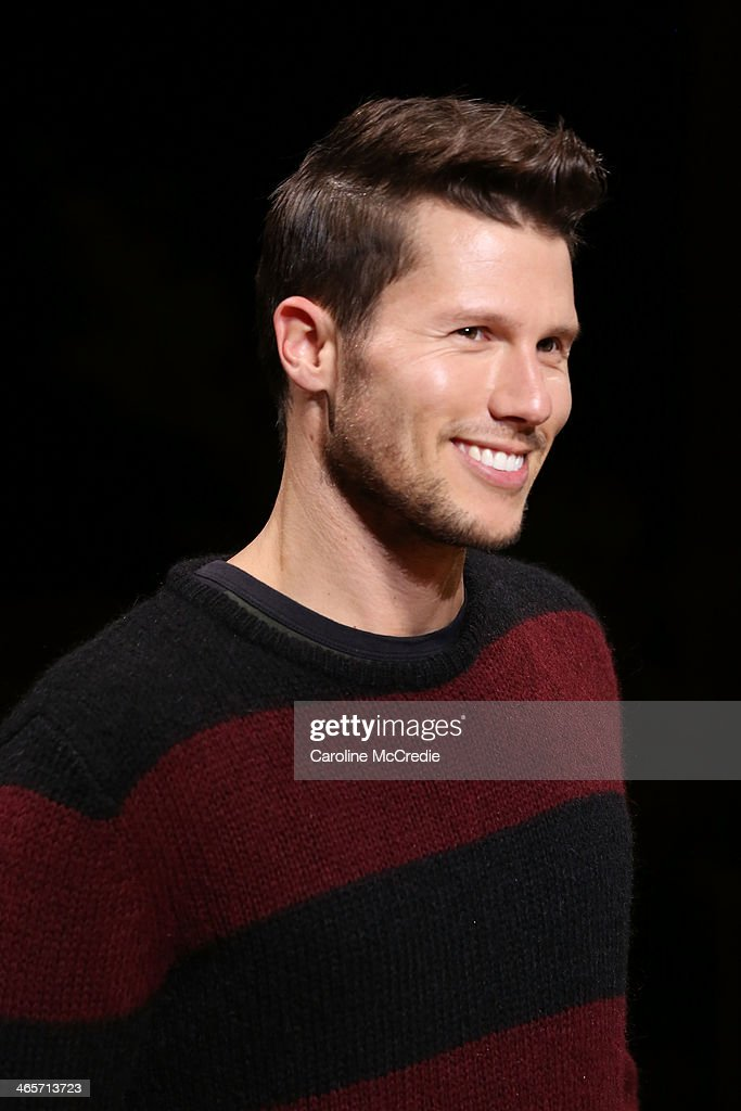 <a gi-track='captionPersonalityLinkClicked' href=/galleries/search?phrase=Jason+Dundas&family=editorial&specificpeople=578396 ng-click='$event.stopPropagation()'>Jason Dundas</a> showcases designs by Zanerobe during rehearsal for the David Jones A/W 2014 Collection Launch at the David Jones Elizabeth Street Store on January 29, 2014 in Sydney, Australia.