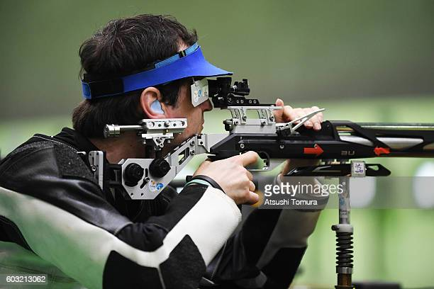 Jason Eales of New Zealand competes in the mixed 10m air rifle prone SH2 on day 5 of the Rio 2016 Paralympic Games at Olympic shooting centre on...