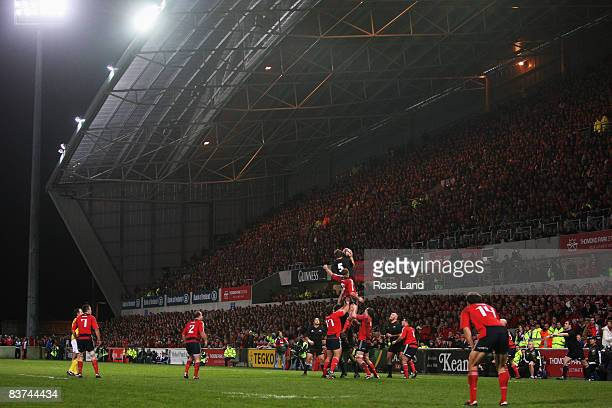 Jason Eaton of the All Blacks is lifted in the lineout during the Munster V New Zealand All Blacks rugby match at Thomond Park on November 18 2008 in...