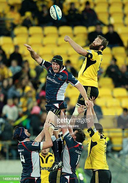 Jason Eaton of the Hurricanes and Al Campbell of the Rebels compete for a lineout ball during the round 14 Super Rugby match between the Hurricanes...