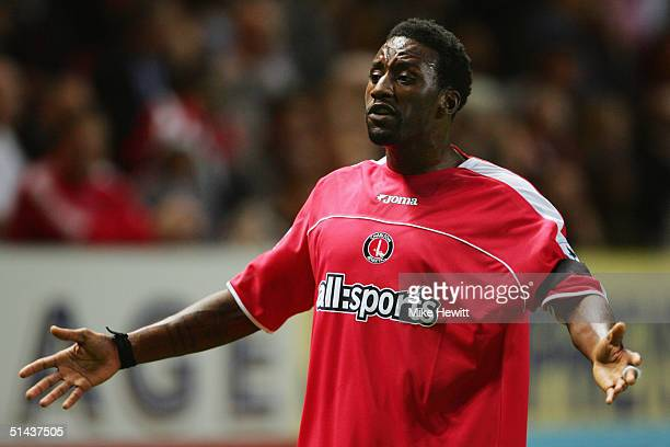 Jason Euell of Charlton Athletic appeals during the Barclays Premiership match between Charlton Athletic and Blackburn Rovers on September 27 2004 at...