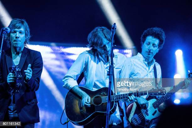 Jason Flaukner Nicolas Godin and Justin MeldalJohnsen perform with Air at The Greek Theatre on June 25 2017 in Los Angeles California