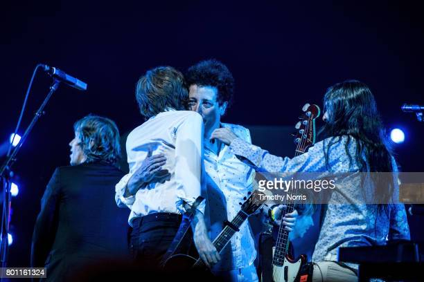 Jason Flaukner Nicolas Godin Justin MeldalJohnsen and Beck perform with Air at The Greek Theatre on June 25 2017 in Los Angeles California