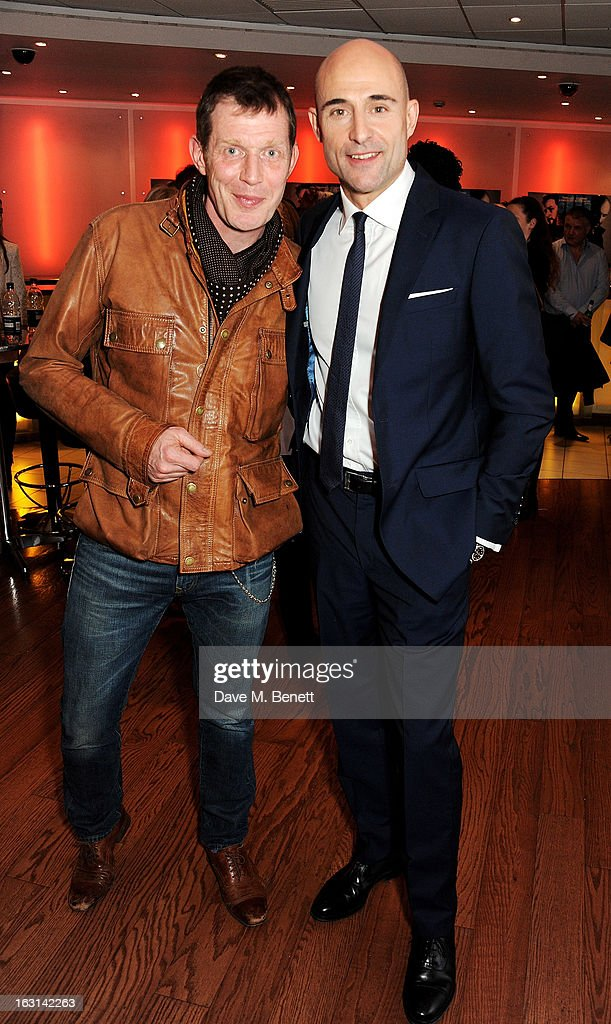 Jason Flemyng (L) and Mark Strong attend the UK Premiere of 'Welcome To The Punch' at the Vue West End on March 5, 2013 in London, England.