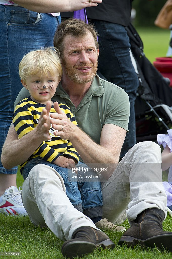 Jason Flemyng and Noah Flemyng attend a photocall to launch The Big Toddle at Dulwich Park on June 25, 2013 in London, England.
