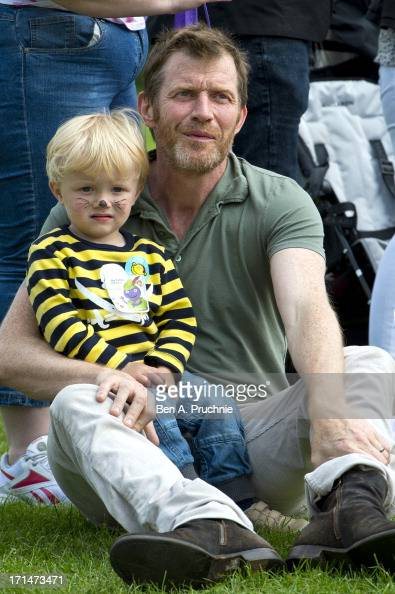 Jason Flemyng and Noah Flemyng attend a photocall to launch The Big Toddle at Dulwich Park on June 25 2013 in London England
