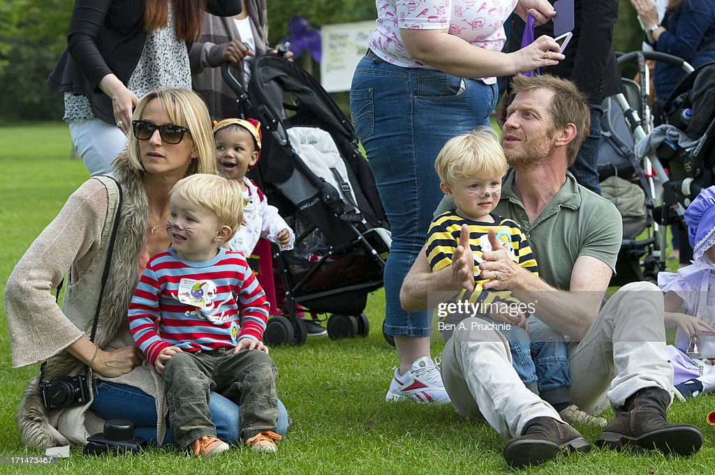 Jason Flemyng, Elly Flemyng and his children Noah and Cassius attend a photocall to launch The Big Toddle at Dulwich Park on June 25, 2013 in London, England.