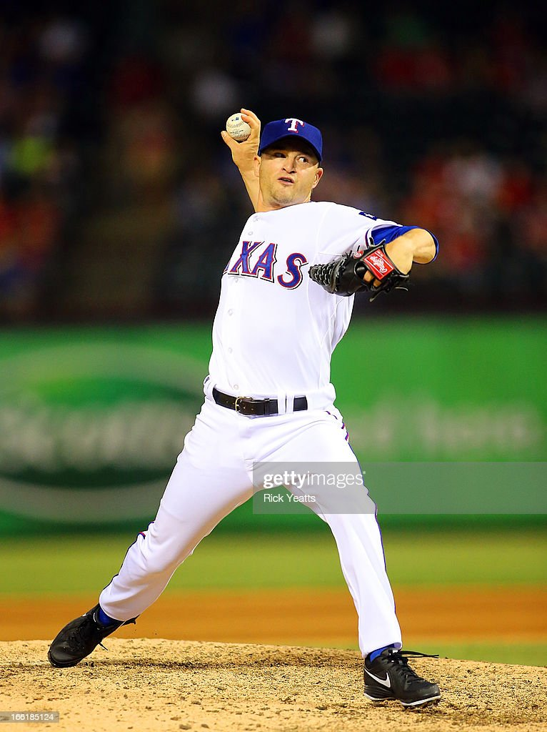 <a gi-track='captionPersonalityLinkClicked' href=/galleries/search?phrase=Jason+Frasor&family=editorial&specificpeople=213654 ng-click='$event.stopPropagation()'>Jason Frasor</a> #44 of the Texas Rangers throws against the Tampa Bay Rays in the ninth inning at Rangers Ballpark in Arlington on April 9, 2013 in Arlington, Texas.