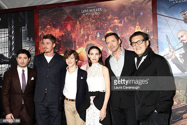 Jason Fuchs Garrett Hedlund Levi Miller Rooney Mara Hugh Jackman and Joe Wright attend the 'Pan' New York Premiere Outside Arrivals at Ziegfeld...