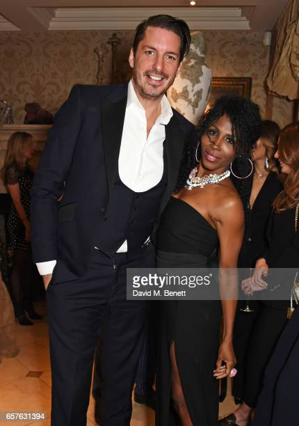 Jason Gale and Sinitta attend Lisa Tchenguiz's party hosted by Fatima Maleki in Mayfair on March 24 2017 in London England