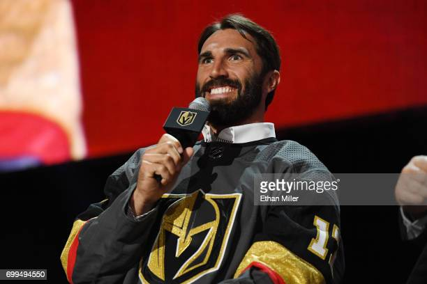 Jason Garrison is interviewed after being selected by the Las Vegas Golden Knights during the 2017 NHL Awards and Expansion Draft at TMobile Arena on...