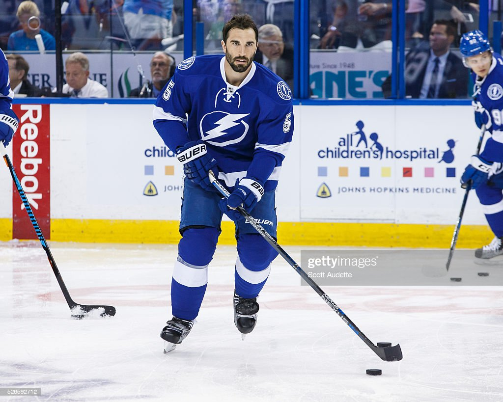 <a gi-track='captionPersonalityLinkClicked' href=/galleries/search?phrase=Jason+Garrison&family=editorial&specificpeople=2143635 ng-click='$event.stopPropagation()'>Jason Garrison</a> #5 of the Tampa Bay Lightning skates against the New York Islanders during the pregame warm ups before Game Two of the Eastern Conference Second Round in the 2016 NHL Stanley Cup Playoffs at the Amalie Arena on April 30, 2016 in Tampa, Florida.