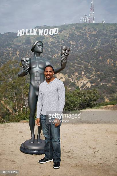 Jason George attends the 21st annual SAG Awards 'Actor' visits the Hollywood Sign event on January 20 2015 in Hollywood California