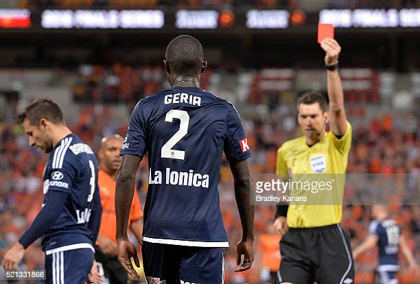 Jason Geria of the Victory is penalised and given a red card by referee Jarred Gillett during the ALeague Elimination Final match between the...