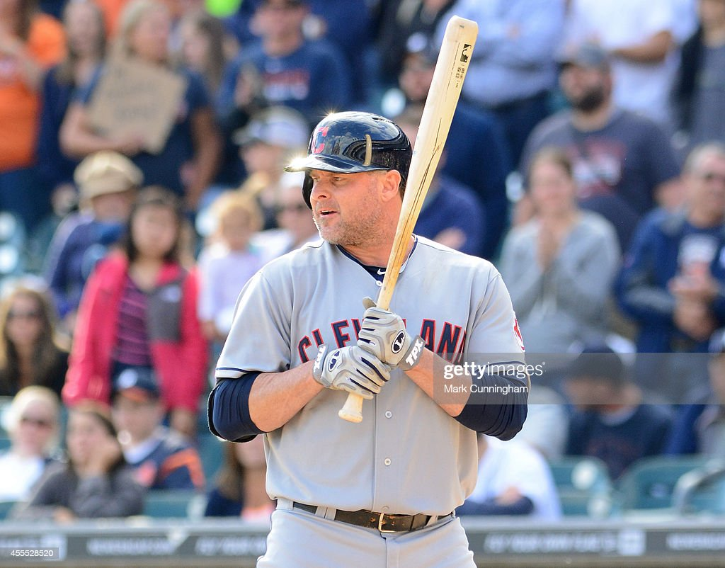 Jason Giambi of the Cleveland Indians looks on while batting during the game against the Detroit Tigers at Comerica Park on September 14 2014 in...