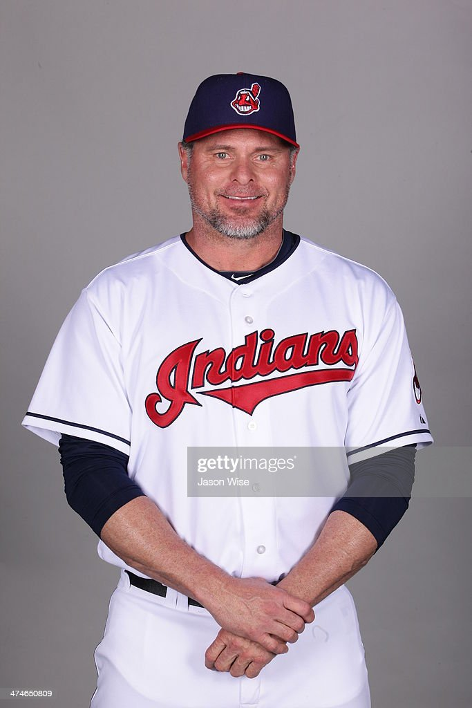 Jason Giambi of the Cleveland Indians poses during Photo Day on Monday February 24 2014 at Goodyear Ballpark in Goodyear Arizona