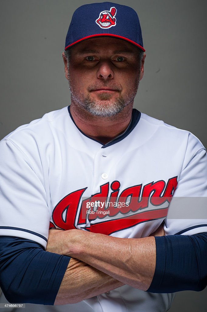 Jason Giambi of the Cleveland Indians poses for a portrait at Goodyear Ballpark on February 24 2014 in Goodyear Arizona