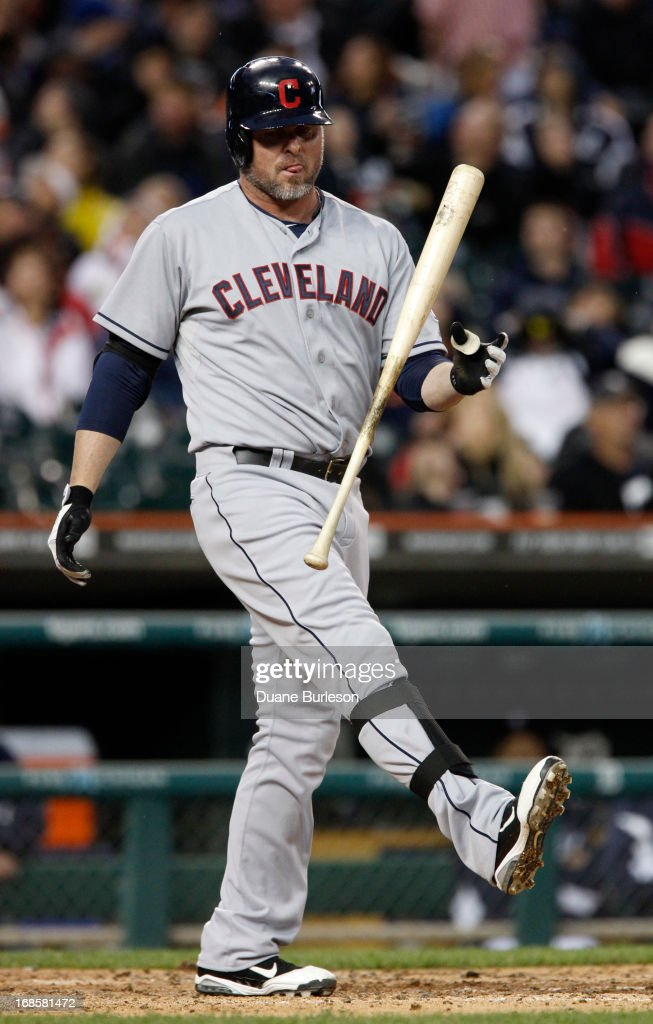 <a gi-track='captionPersonalityLinkClicked' href=/galleries/search?phrase=Jason+Giambi&family=editorial&specificpeople=194953 ng-click='$event.stopPropagation()'>Jason Giambi</a> #25 of the Cleveland Indians reacts after swinging for a strike against the Detroit Tigers in the fifth inning at Comerica Park on May 11, 2013 in Detroit, Michigan.