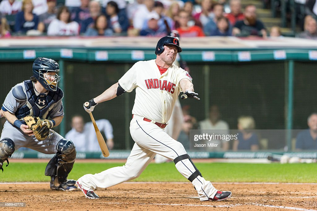 Jason Giambi of the Cleveland Indians strikes out during the seventh inning against the Tampa Bay Rays at Progressive Field on September 27 2014 in...