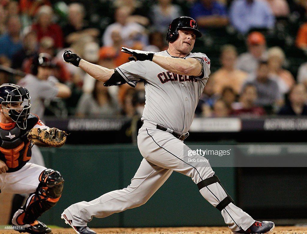 Jason Giambi of the Cleveland Indians strikes out in the fourth inning against the Houston Astros at Minute Maid Park on September 16 2014 in Houston...