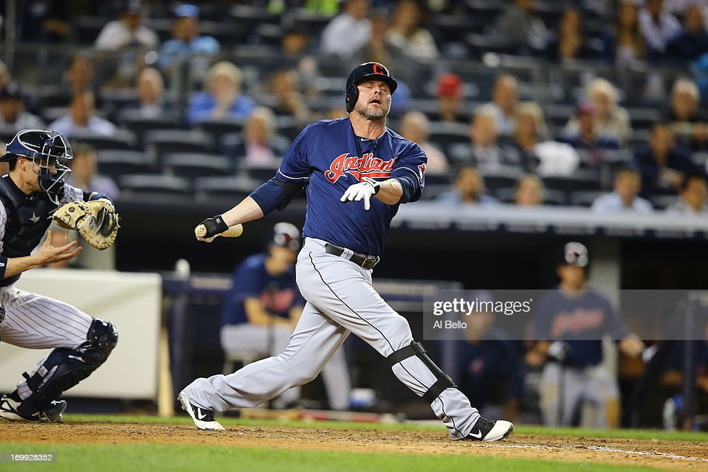 <a gi-track='captionPersonalityLinkClicked' href=/galleries/search?phrase=Jason+Giambi&family=editorial&specificpeople=194953 ng-click='$event.stopPropagation()'>Jason Giambi</a> #25 of the Cleveland Indians strikes out in the ninth inning against Mariano Rivera #42 of the New York Yankees during their game on June 4, 2013 at Yankee Stadium in the Bronx borough of New York City