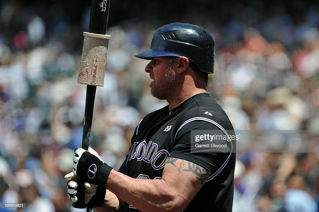 Jason Giambi #23 of the Colorado Rockies warms up in the batters box during the game against the Arizona Diamondbacks at Coors Field on May 27, 2010 in Denver, Colorado.