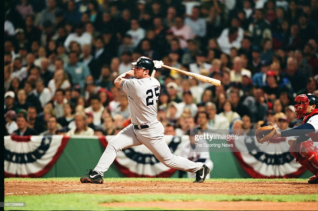 Jason Giambi of the New York Yankees bats against the Boston Red Sox at Fenway Park on May 26 2002 in Boston Massachusetts