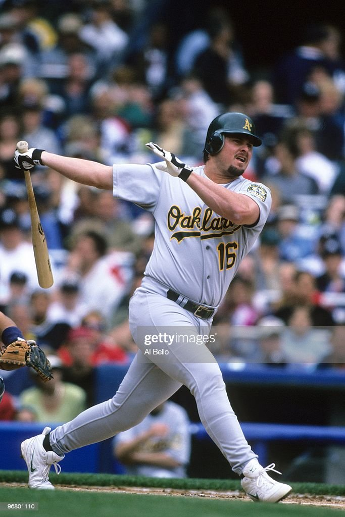 Jason Giambi of the Oakland Athletics bats during their MLB game against the New York Yankees at Yankee Stadium on May 29 2000 in New York New York