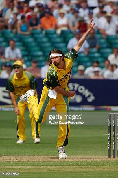 Jason Gillespie bowling for Australia during the NatWest Series One Day International between England and Australia at Bristol 19th June 2005...