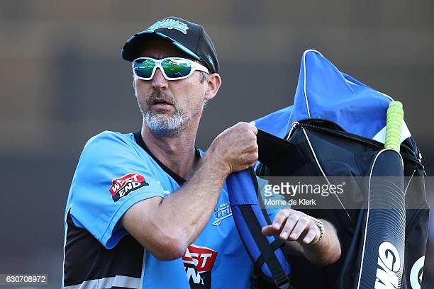Jason Gillespie coach of the Adelaide Strikers looks on before the Big Bash League match between the Adelaide Strikers and Sydney Sixers at Adelaide...