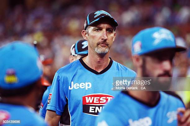 Jason Gillespie coach of the Adelaide Strikers looks on during the Big Bash League match between the Adelaide Strikers and Perth Scorchers at...