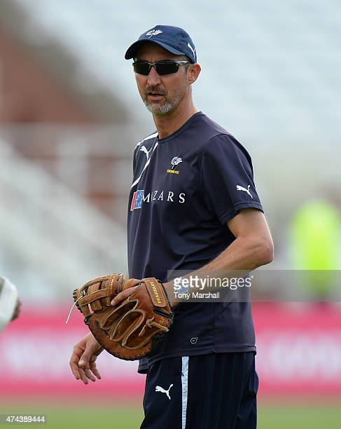 Jason Gillespie coach of Yorkshire Vikings during the NatWest T20 Blast between Nottingham Outlaws and Yorkshire Vikings at Trent Bridge on May 22...