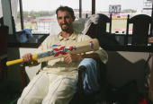 Jason Gillespie of Australia reflects on his double century innings during day four of the Second Test between Bangladesh and Australia played at the...
