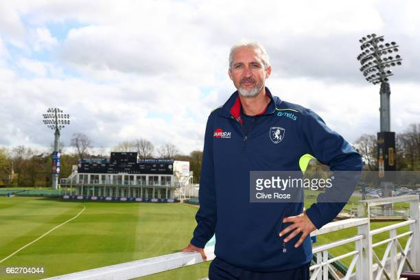 Jason Gillespie of Kent CCC poses during the Kent CCC Photocall at The Spitfire Ground on March 31 2017 in Canterbury England
