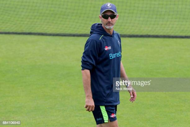 Jason Gillespie of Kent keeps a watchful eye during the warmup prior to the Royal London OneDay Cup between Kent and Essex at the Spitfire Ground on...