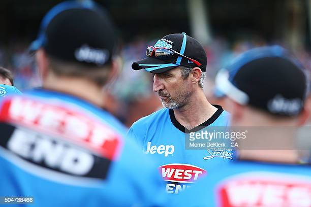 Jason Gillespie of the Adelaide Strikers looks on during the Big Bash League match between the Adelaide Strikers and the Hobart Hurricanes at...