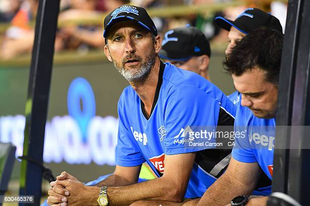 Jason Gillespie the Adelaide Strikers caoch looks on during the Big Bash League between the Perth Scorchers and Adelaide Strikers at WACA on December...