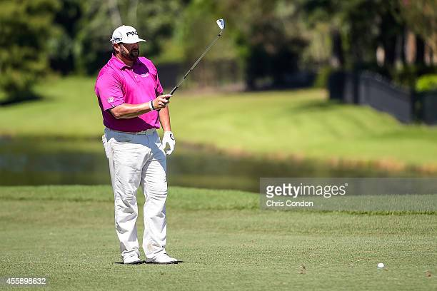 Jason Gore gets ready to hit a shot from the ninth hole fairway during the final round of the Webcom Tour Championship at TPC Sawgrass Dye's Valley...