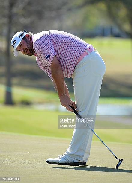 Jason Gore reacts to his putt on the 18th hole during the third round of the Webcom Tour Chitimacha Louisiana Open Presented by NACHER at Le Triomphe...