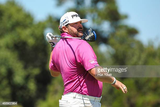 Jason Gore reacts to his tee shot on the eighth hole during the final round of the Webcom Tour Championship at TPC Sawgrass Dye's Valley Course on...