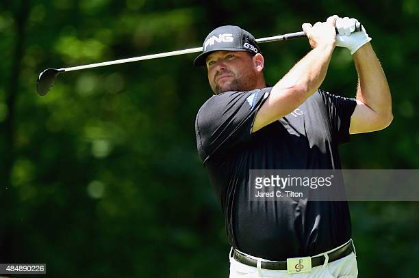 Jason Gore tees off on the second hole during the third round of the Wyndham Championship at Sedgefield Country Club on August 22 2015 in Greensboro...